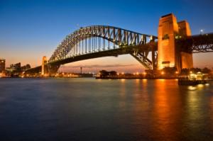 Motorhome hire Sydney Harbour Bridge at Twilight